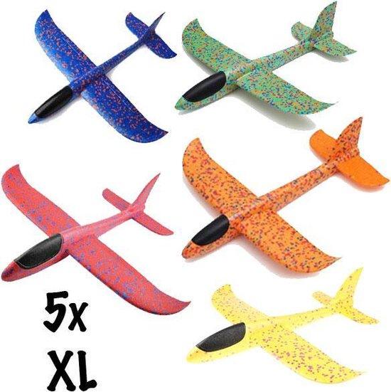 Combinatie pakket 5 XL zweefvliegtuig wegwerp blauw, geel, rood, groen, oranje| zweefvliegtuig speelgoed | Speelgoedvliegtuigen | foam vliegtuig