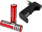 2x UltraFire Oplaadbare 18650 3.7V 4200 mAh Batterijen + Batterij Oplader