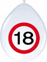 8x stuksBallonnen 18 jaar verkeersbord versiering