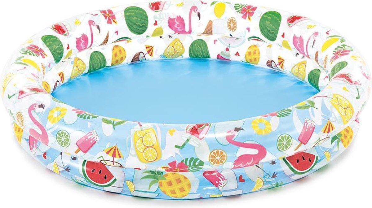 Kinderzwembad 122 x 122 x 25 - Tropisch - Flamingo en zomerse vruchten | opblaasbadje | kinderbadje
