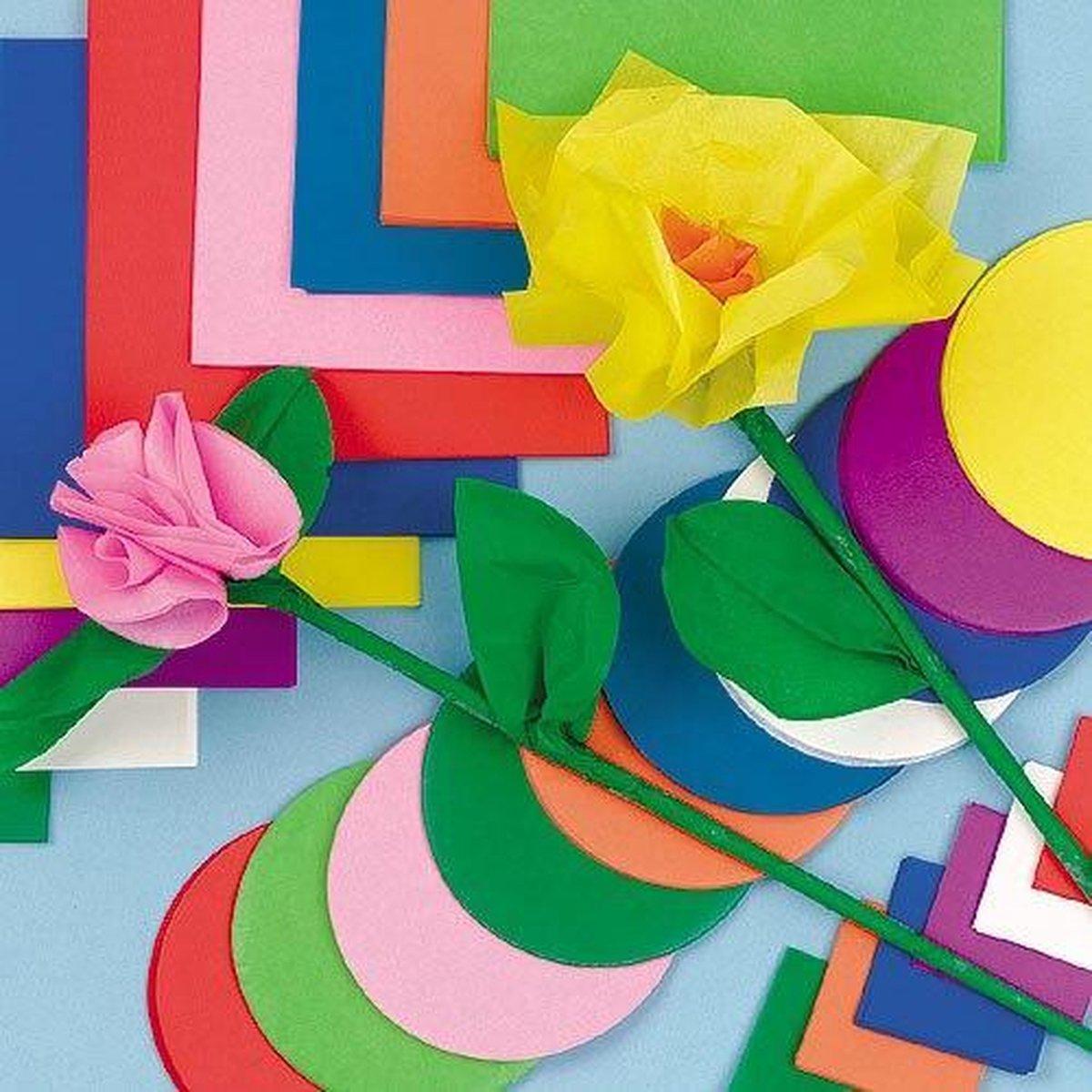 Voordeelpakket gekleurd vloeipapier/zijdepapier - knutselmateriaal voor kinderen en volwassen voor scrapbooking collage en knutselwerkjes (1440 stuks) - Baker Ross