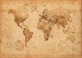 Wereldkaart vintage poster - extra large -100x140cm