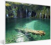 Foto in lijst - Groene natuur van het Nationaal park Plitvicemeren fotolijst wit 40x30 cm - Poster in lijst (Wanddecoratie woonkamer / slaapkamer)