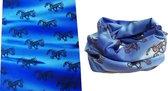 Tube scarf - paarden - Nekwarmer - Blauw water - Multifunctioneel