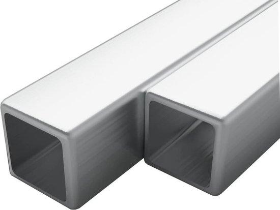 vidaXL Buizen vierkant stekkersectie V2A 1m 15x15x1,5mm rvs 2 st