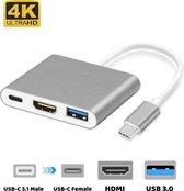 Universele USB-C Adapter (USB-Hub) met USB, HDMI en USB-C ingang - voor Macbook & Windows - Grijs