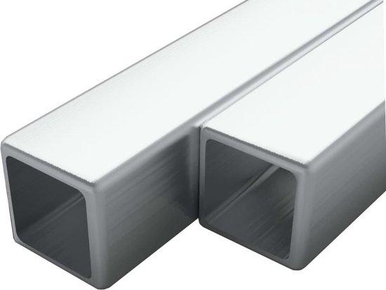 vidaXL Buizen vierkant stekkersectie V2A 2m 40x40x1,9mm rvs 2 st