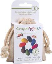 Crayon Rocks -8 kleuren in een katoenen zakje -  ecologische niet giftige waskrijtjes, pengreep stimulerend