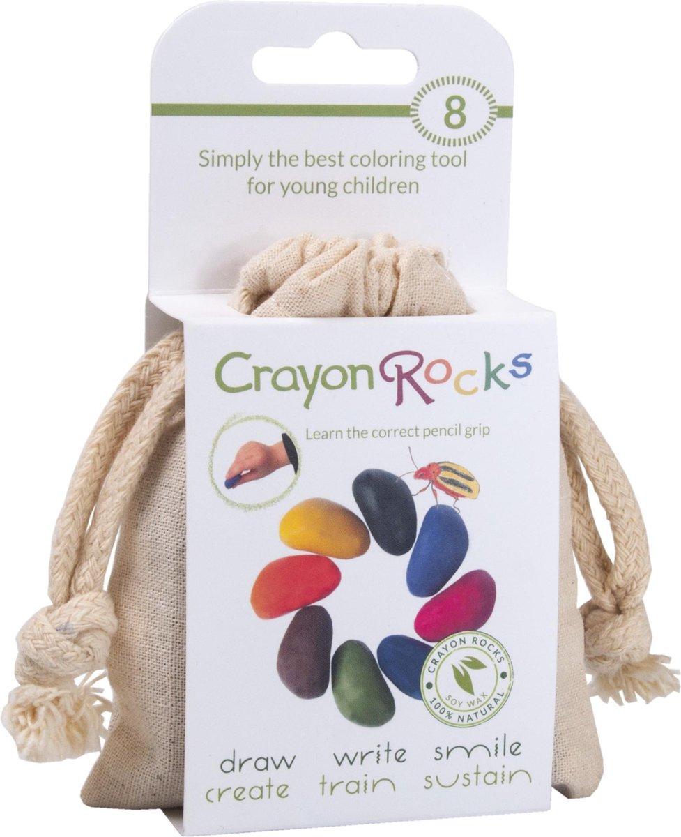 Crayon Rocks -8 kleuren in een katoenen zakje -  ecologische niet giftige waskrijtjes, pengreep stim