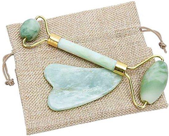 Love Earth Jade Roller Gezichtsmassage Roller - Groen - 100% Natuurlijke Jade steen