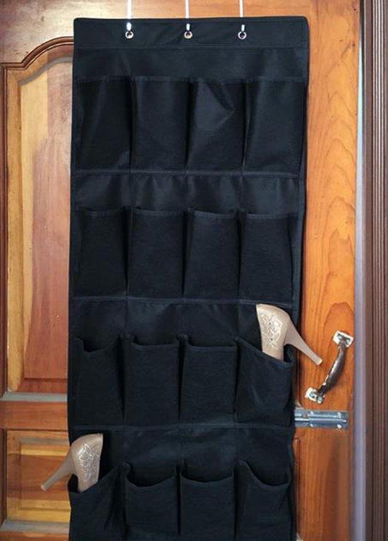 Schoenen opbergsysteem - Zwart - Inclusief ophanghaken - Schoenenzak voor aan de deur - Schoenenkast organizer - 20 vakken