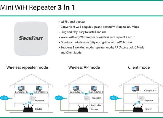 SecuFirst REP240 - wifi versterker - 300 Mbps