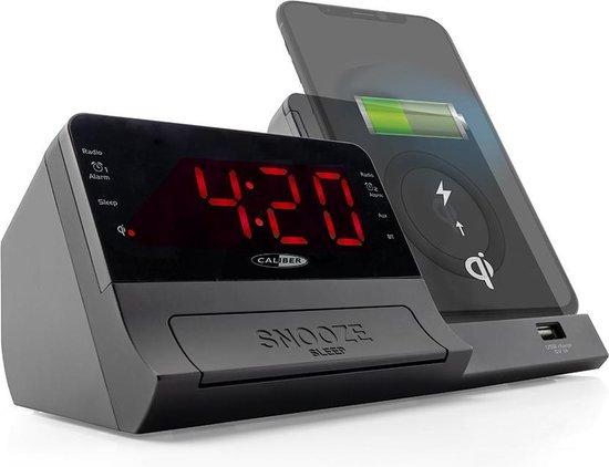 Caliber HCG012QI-BT - Wekkeradio met bluetooth en QI lader - Zwart