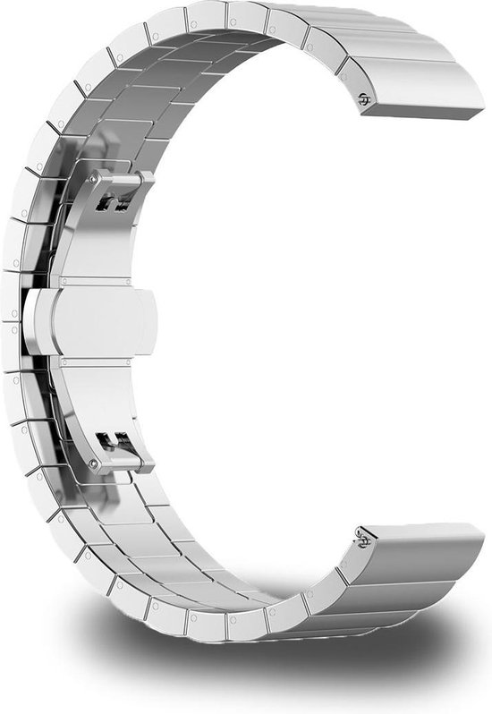 Stalen Smartwatch Bandje - Bescherm Band cover voor Garmin Vivoactive 3 (music), Vivomove (HR), Foreruner 645 en 245 & Samsung galaxy watch 42mm (3, 41mm), Gear Sport, Active (2) - Zilver
