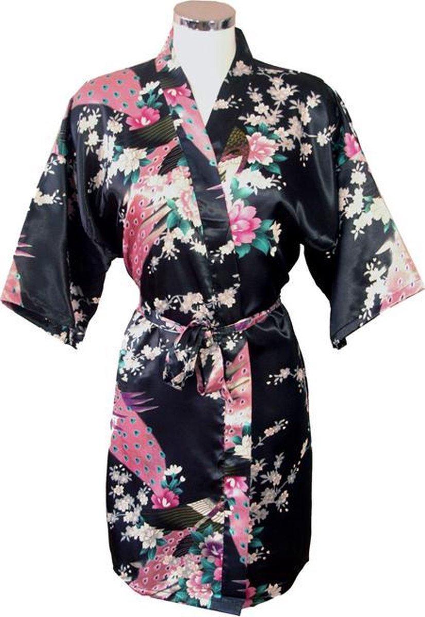TA-HWA Korte Kimono Pauw Zwart One Size