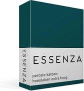 Essenza Premium - Percale Katoen - Hoeslaken - Extra Hoog - Eenpersoons - 80x200 cm - Petrol
