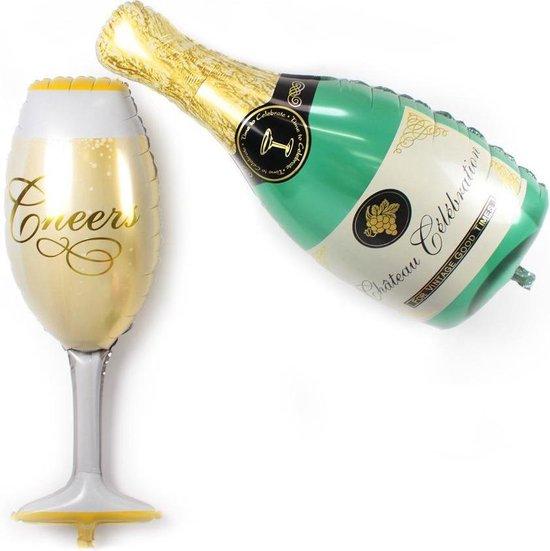 Folie helium ballon Champagnefles en Champagneglas 102cm
