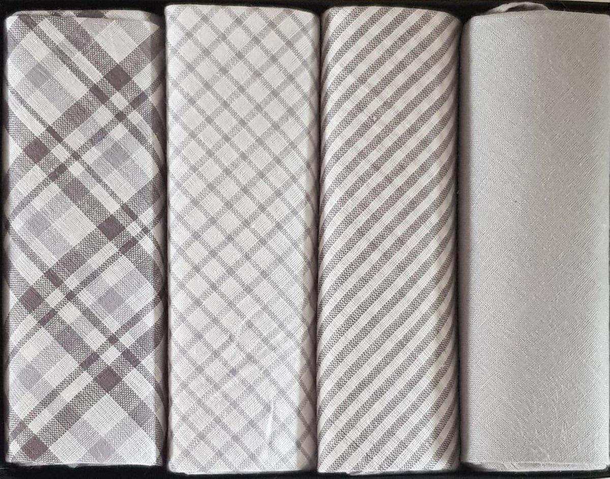 Zakdoeken Set 4 stuks   Design Kleuren -  40 X40 cm 100% katoen - Heren Zakdoeken