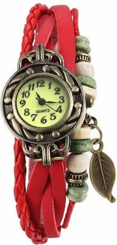 Fako® – Armband Horloge – Blad – Rood