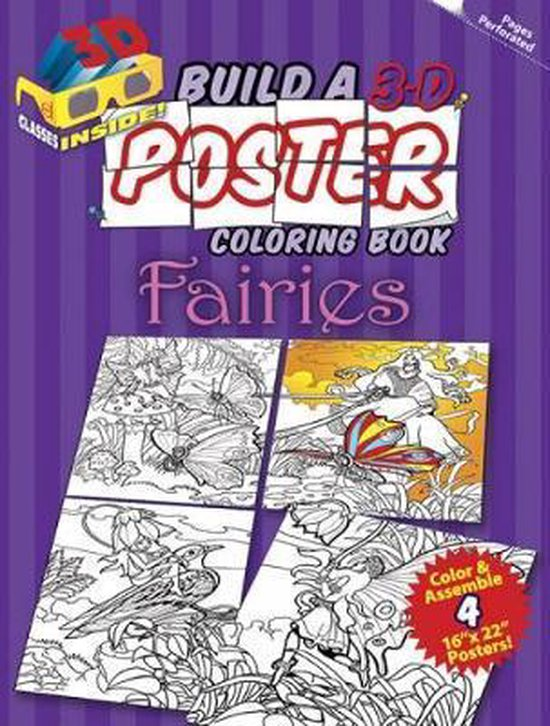 Build a 3-D Poster Coloring Book - Fairies