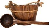 Emendo - Sauna set hout met touw. - Emmer met kunststof inzetbak en lepel - 3 Liter