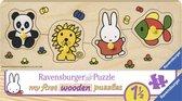 Ravensburger houten puzzel nijntje in de dierentuin - 4 stukjes