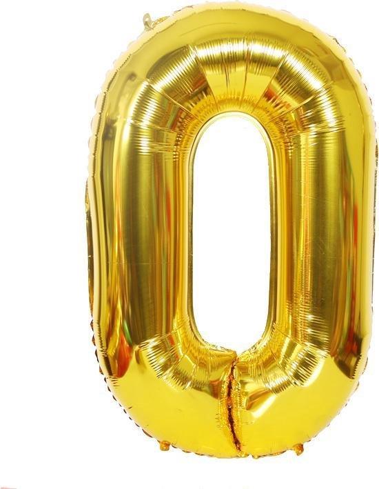 XL nummer 0 folie cijfer ballon goud 100cm / 40inch | nummerballon | cijferballon