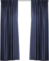 Larson - Luxe Hotel Serie Blackout Gordijn - Visgraat motief - Ringen - Donkerblauw - 300 x 250 cm - Verduisterend & kant en klaar
