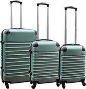 3 delige ABS lichtgewicht harde kofferset met cijferslot groen (228)