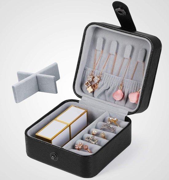 Mini Sieradenbox Opberger - Bijouteriedoos Opbergbox - Reis Juwelen Opbergdoos - PU Leder Zwart