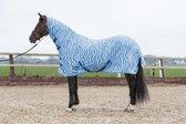 Harry's Horse Vliegendeken mesh met hals & singels, zebra medival blue 155cm