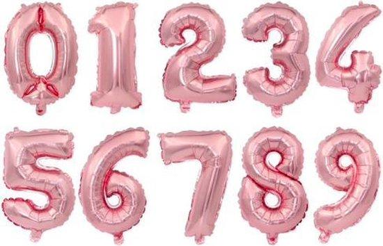 XL Folie Ballon (0) - Helium Ballonnen – Folie ballonen - Verjaardag - Speciale Gelegenheid  -  Feestje – Leeftijd Balonnen – Babyshower – Kinderfeestje - Cijfers - Champagne Rose