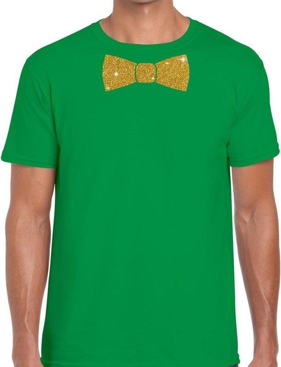 Groen fun t-shirt met vlinderdas in glitter goud heren 2XL