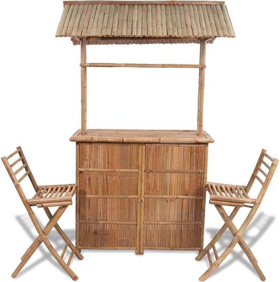 Tuinbar set bamboe 3-delig (incl. Fleecedeken)