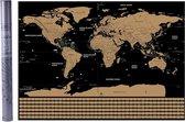 Home & Comfort wereldkaart - scratch map - kraskaart - krasmap - zwart/goud - met koker - 82,5 x 59,5 cm