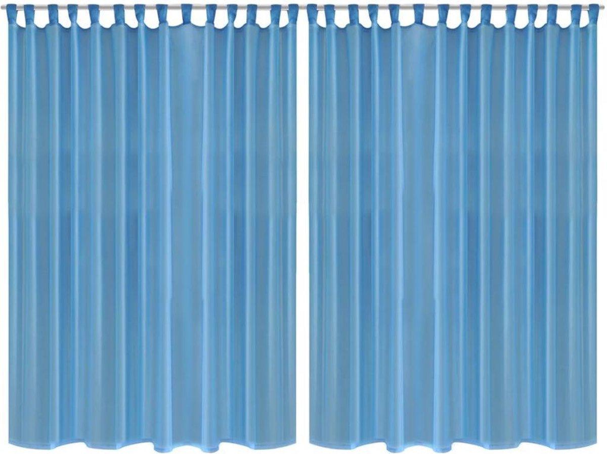 | Glasgordijn 290 x 225 cm wit 2 stuks