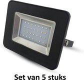 20W LED Bouwlamp| Zwart |6000K (Daglicht)|vervangt 100W halogeen  | Set van 5