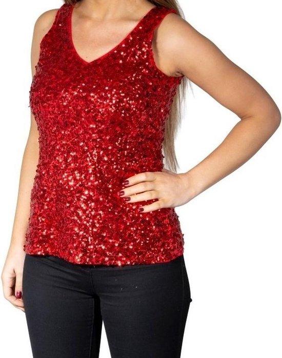 Verrassend bol.com | Rode glitter pailletten disco topje/ hemdje/ mouwloos SI-94