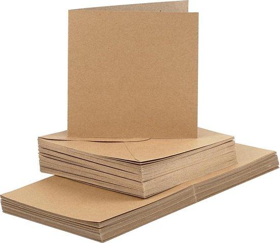 Afbeelding van Kaarten en enveloppen, afmeting kaart 15x15 cm, afmeting envelop 16x16 cm, 50 sets, naturel speelgoed
