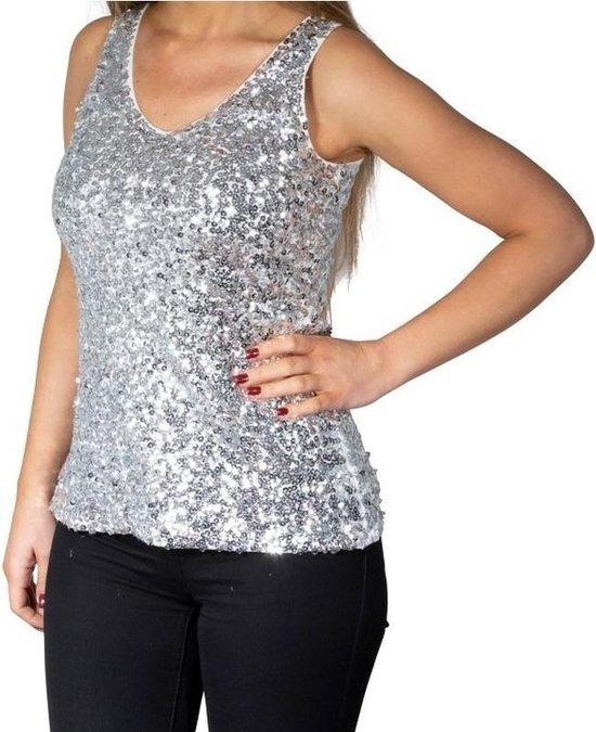 Wonderbaarlijk bol.com | Zilveren glitter pailletten disco topje/ hemdje CS-08