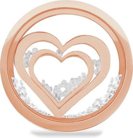 LOCKits 982501864 - Stalen glas munt - harten en kristallen - 33-2 mm - rosékleurig