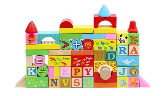 Houten blokken speelgoed set - 200 blokken - in opbergbox
