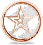 Silventi Lockits 982501858 Stalen glas munt - sterren en kristallen - 20-2 mm - Roségoudkleurig