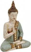 Boeddha beeldje wit/groen 29 cm - Tuin decoratie/woonaccessoires Boeddha beelden