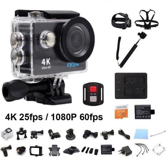 EKEN H9R 4K WiFi Action Cam met Afstandsbediening Complete Set | Lader + Extra Batterij | 32GB MicroSD Kaart | Selfie Stick | Hoofdband + Borstband