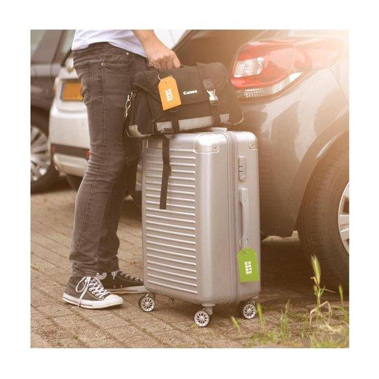 TravelMore Leren Kofferlabel - Luxe Bagage Label Leer voor Koffers en Tassen - Reislabel - Adreslabels - Luggage Tag - 4 Stuks - Blauw - TravelMore