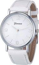 Fako® - Horloge - Geneva - Classic - Zilverkleurig - Wit