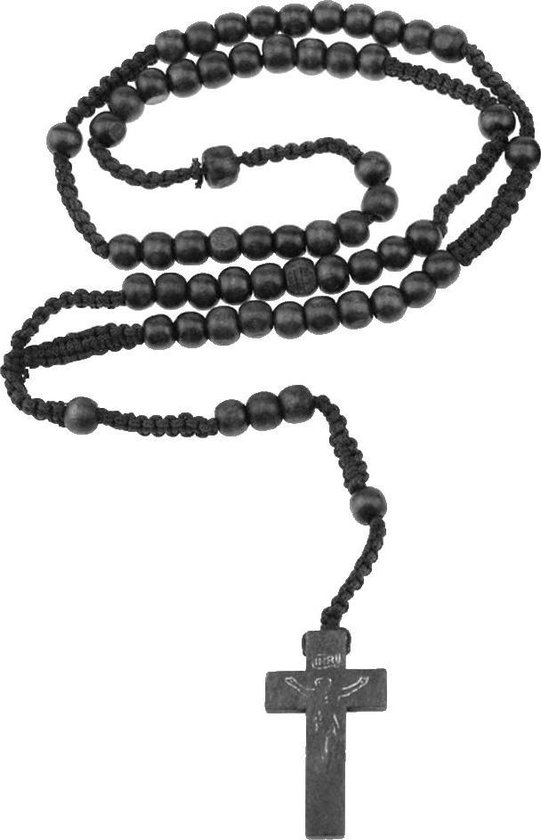Fako Bijoux® - Rozenkrans Ketting - Hout - Zwart
