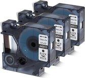 3x D1 standaard labels Dymo 45013 Zwart op wit / 12mm x 7m / Compatibele met Dymo LabelManager PnP