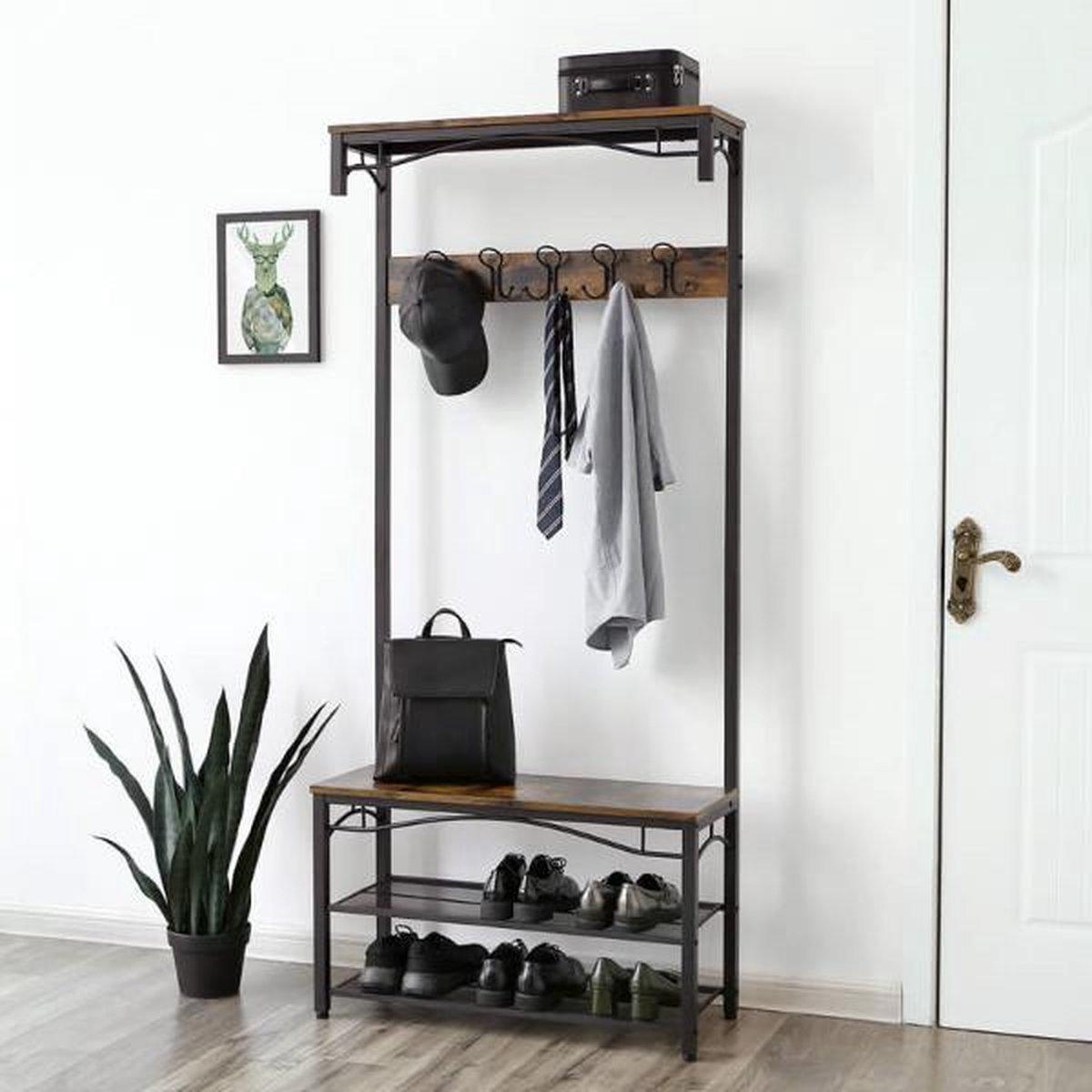 MIRA Home - Garderoberek XL - Kapstok - Multifunctioneel - Industrieel - Bruin/zwart - 80x32x178,5